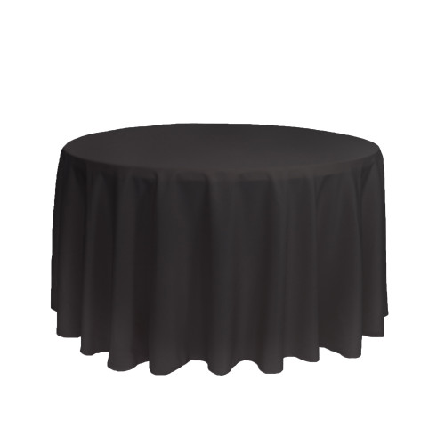 108 inch Round Polyester Tablecloths Black