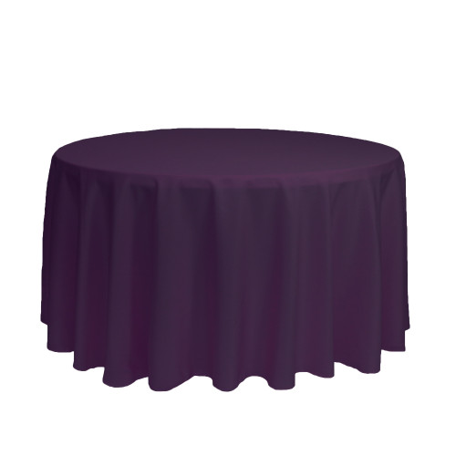 120 Inch Round Polyester Tablecloth Eggplant