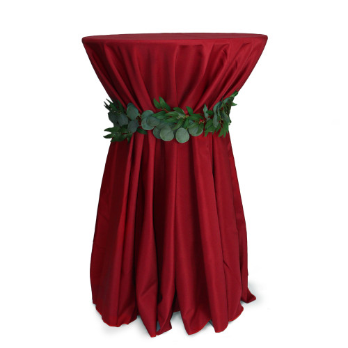 120 inch Round Polyester Tablecloths Dark Red on cocktail table