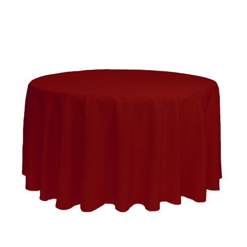 120 inch Round Polyester Tablecloths Dark Red