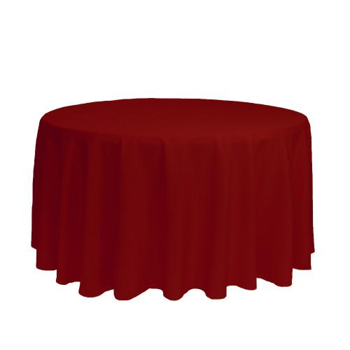 120 inch Round Polyester Tablecloths Dark Red