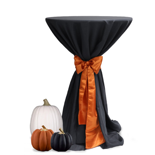 120 inch Round Polyester Tablecloths Black on cocktail table