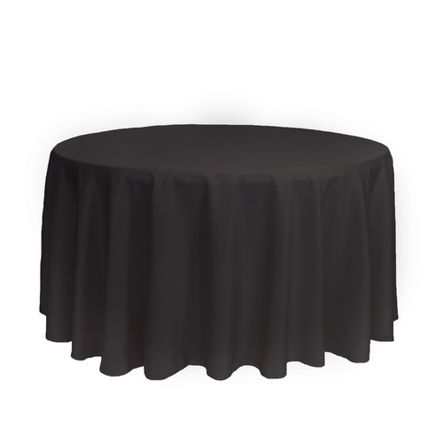 120 inch Round Polyester Tablecloths Black