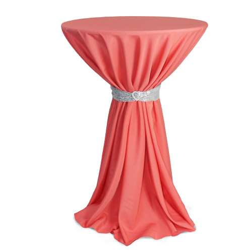 120 inch Round Polyester Tablecloths Coral on cocktail table