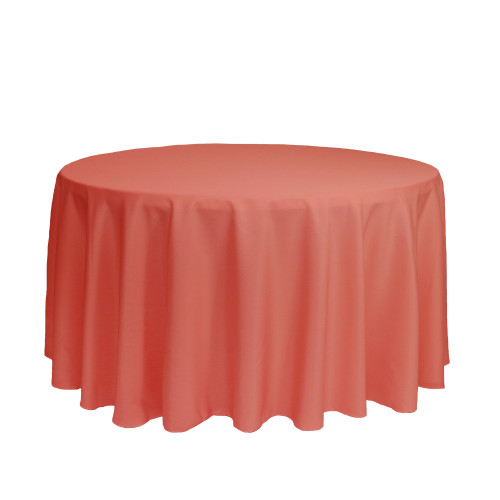 120 inch Round Polyester Tablecloths Coral