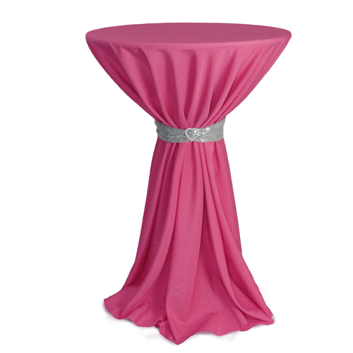 120 inch Round Polyester Tablecloths Fuchsia on cocktail table