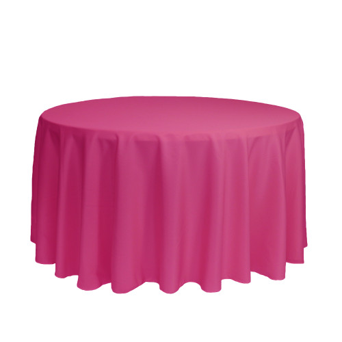 120 inch Round Polyester Tablecloths Fuchsia