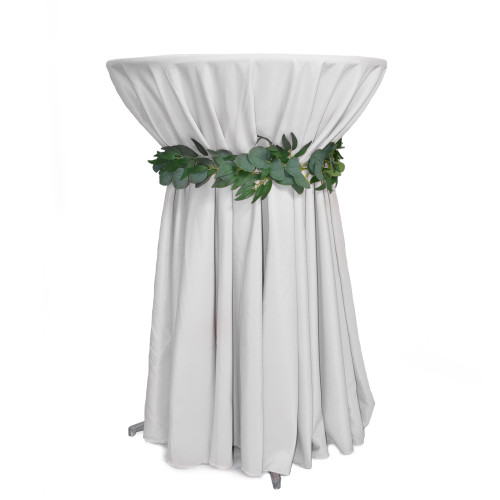 108 Inch Round Polyester Tablecloth White on cocktail table