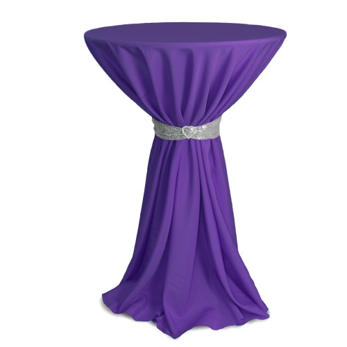 120 inch Round Polyester Tablecloths Purple on cocktail table