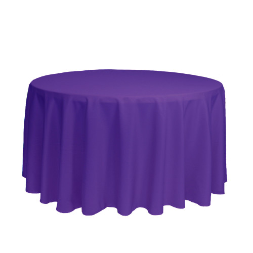 120 inch Round Polyester Tablecloths Purple