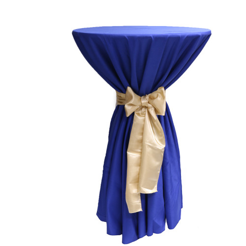 120 Inch Round Polyester Tablecloth Royal Blue on cocktail table
