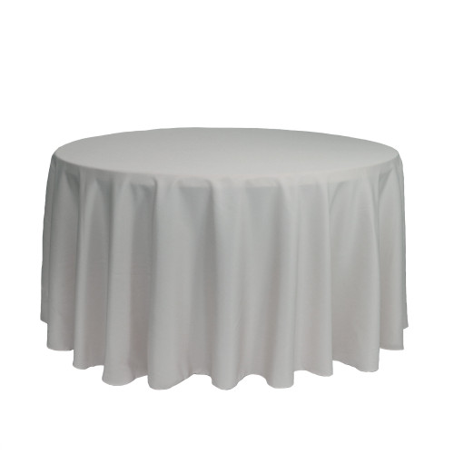 120 inch Round Polyester Tablecloths Silver
