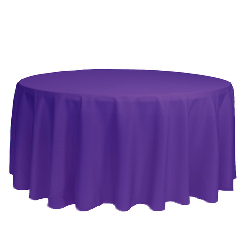 132 inch Round Polyester Tablecloths Purple