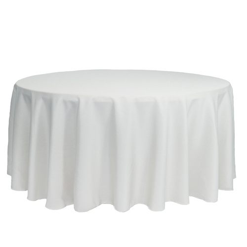 132 inch Round Polyester Tablecloths White