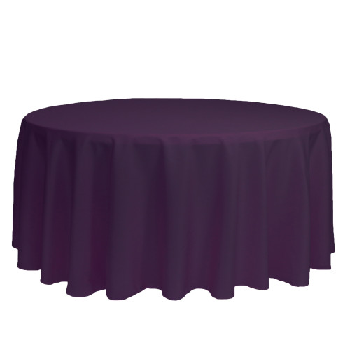 132 inch Round Polyester Tablecloths Eggplant