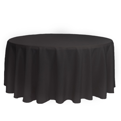 132 inch Round Polyester Tablecloths Black