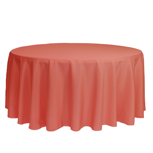 132 inch Round Polyester Tablecloths Coral