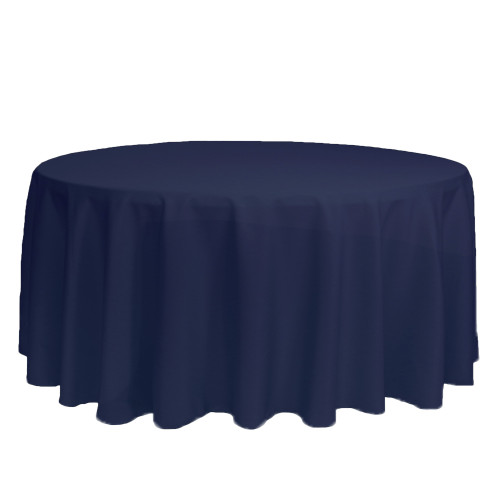132 inch Round Polyester Tablecloths Navy Blue