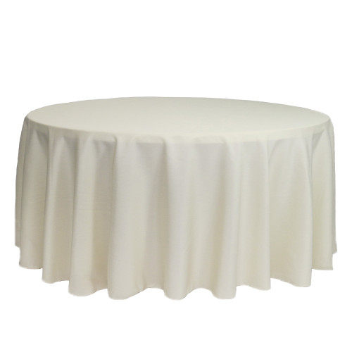 132 inch Round Polyester Tablecloths Ivory