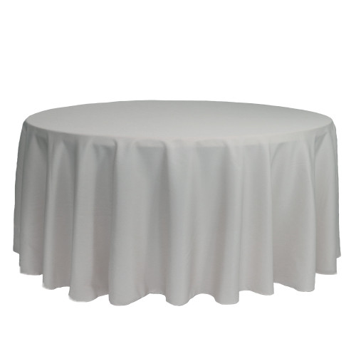 132 inch Round Polyester Tablecloths Silver