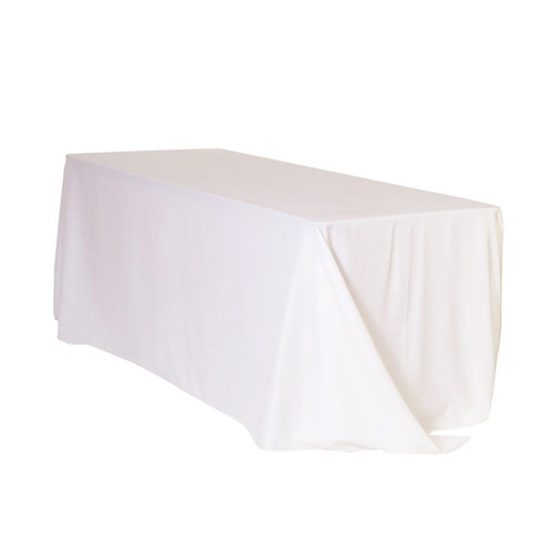 90 x 132 inch Rectangular Polyester Tablecloths White