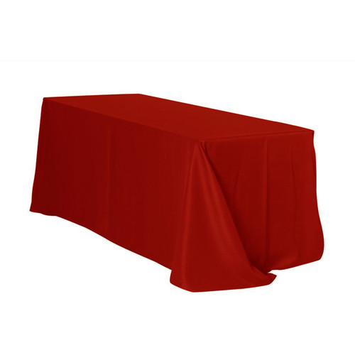 90 x 132 inch Rectangular Polyester Tablecloths Dark Red
