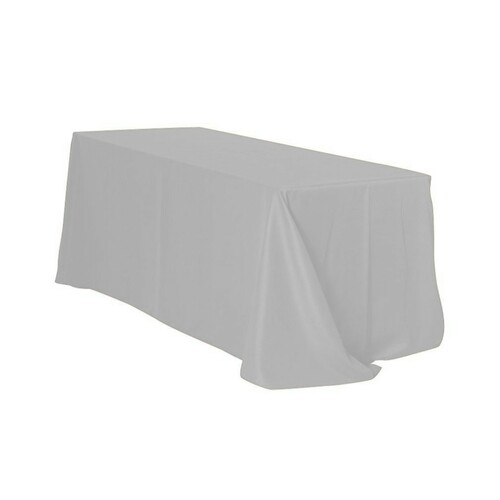 90 x 156 Inch Rectangular Polyester Tablecloth Silver