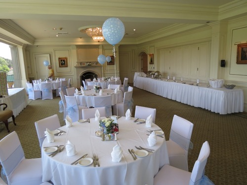 white round polyester table linen