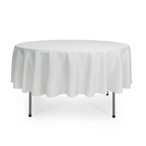 90 inch Round Polyester Tablecloths White