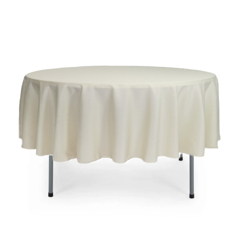 90 Inch Round Polyester Tablecloth Ivory
