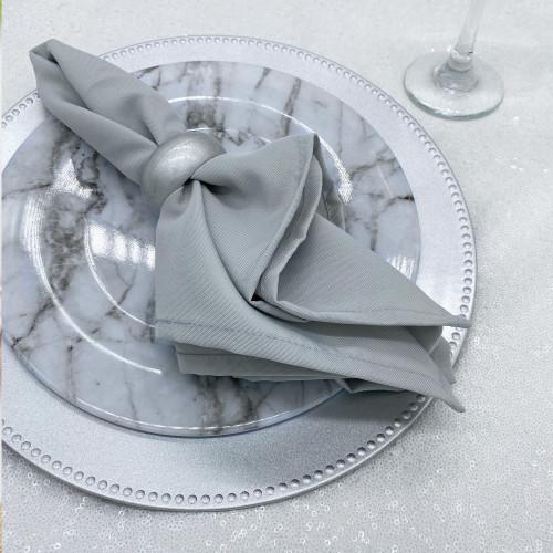 silver polyester napkins