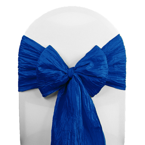 Crinkle Taffeta Chair Sashes Royal Blue