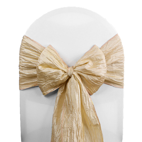 Crinkle Taffeta Chair Sashes Champagne