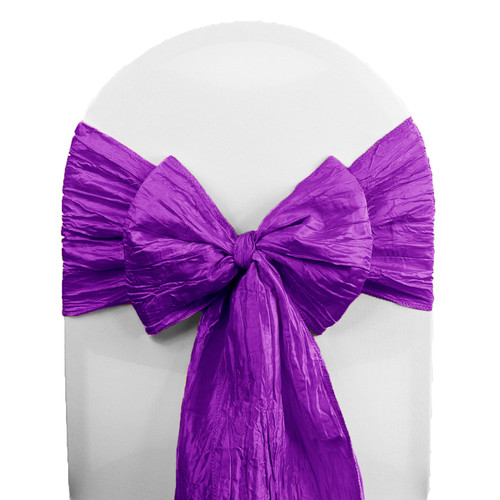 Crinkle Taffeta Chair Sashes Purple