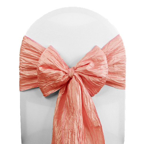 Crinkle Taffeta Chair Sashes Coral