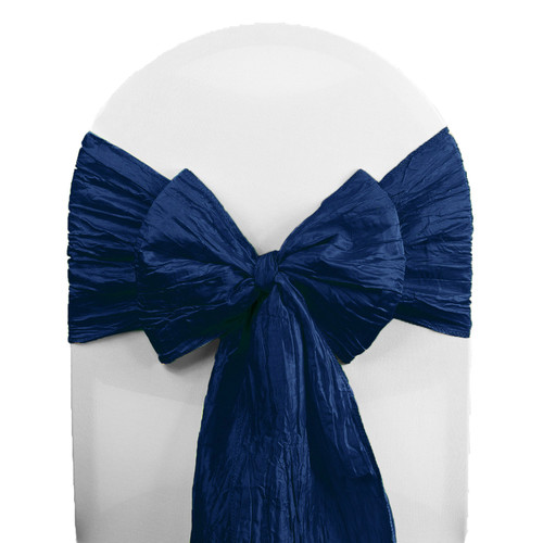 10 Pack Crinkle Taffeta Chair Sashes Navy Blue