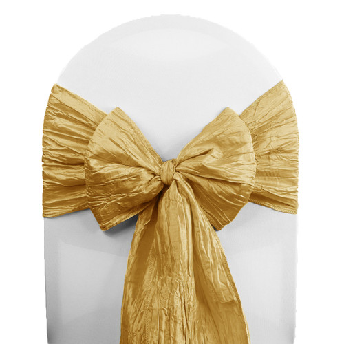 Crinkle Taffeta Chair Sashes Gold