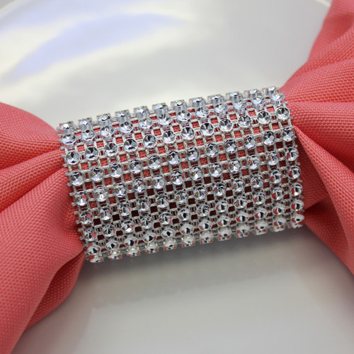 Dazzling Diamond Rhinestone Chair Sash Slips, Napkin Rings Silver