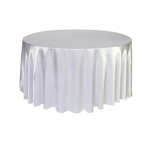 120 inch Round Satin Tablecloths White