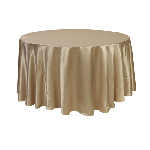 120 inch Round Satin Tablecloths Champagne