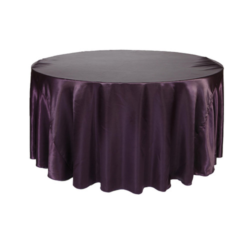 120 Inch Round Satin Tablecloth Eggplant
