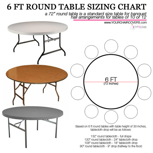 How to Buy White Satin Tablecloths for 6 ft Round Tables? Use this Tablecloth Sizing Guide, a quick and easy printable table cloth sizing chart. 120 inch round table linens will fully drape a 5 ft round table or 60 inch . Check the image for your other table cover measurement options.