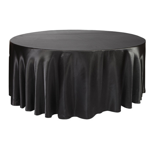 132 Inch Round Satin Tablecloth Black
