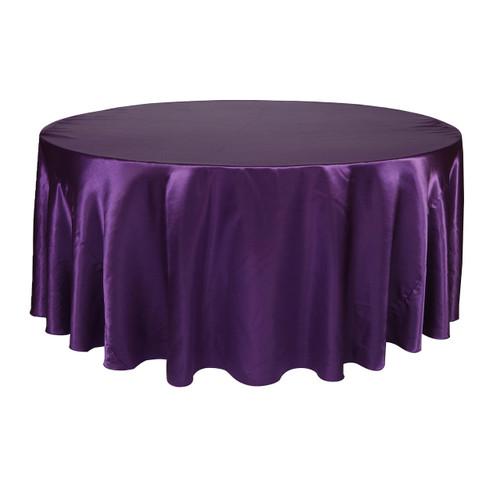 132 Inch Round Satin Tablecloth Purple