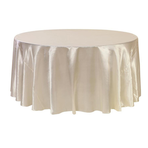 132 inch Round Satin Tablecloths Ivory