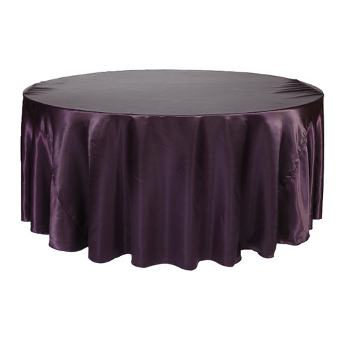 132 Inch Round Satin Tablecloth Eggplant
