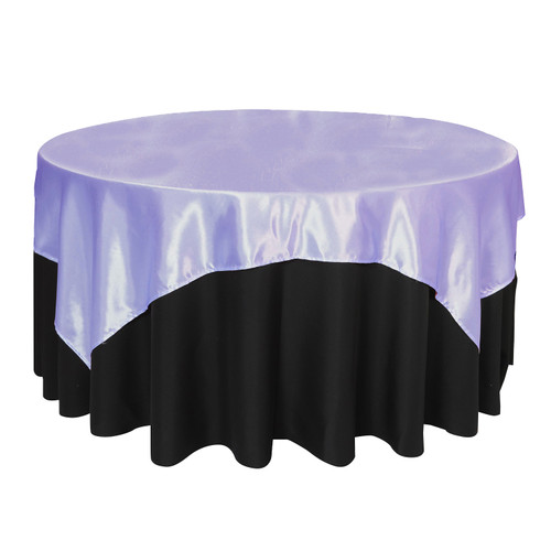 72 inch Square Satin Table Overlays Lavender