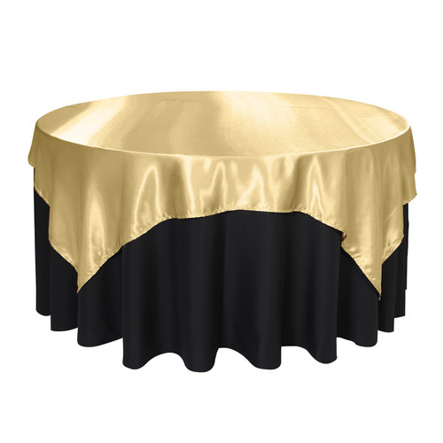 72 Inch Square Satin Table Overlay Champagne