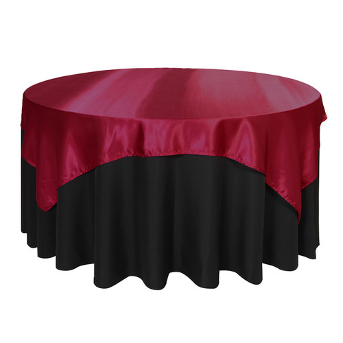72 Inch Square Satin Table Overlay Dark Red