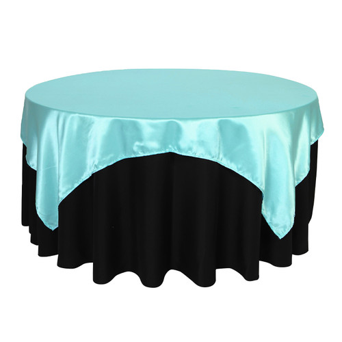 72 inch Square Satin Table Overlays Turquoise